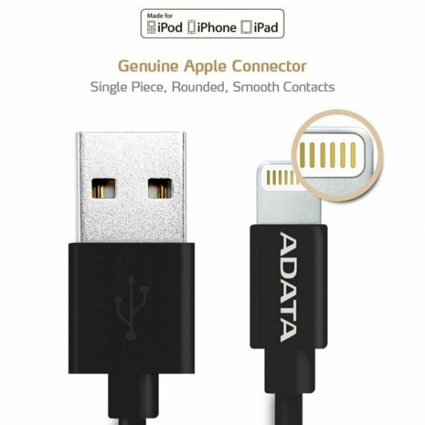ADATA LIGHTNING APPLE CERTIFIED 1M BLACK CABLE