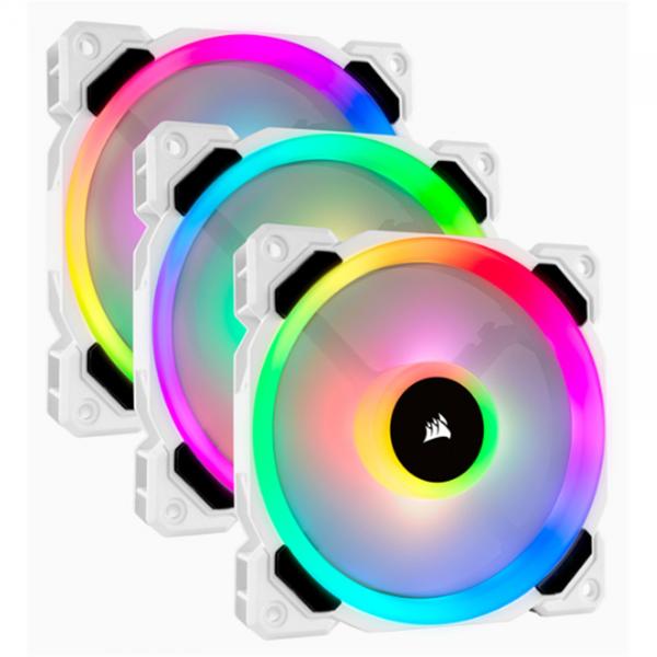 CORSAIR LL120 120MM RGB DUAL LIGHT LOOP 3PACK WHIT